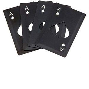 Poker Bottle Opener With Blade, Can Self-defense,Stainless Steel Casino Bottle Opener for Your Wallet , Beer Bottle Opener(Pack of 4)