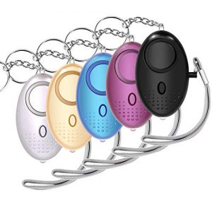 5 Pack Personal Alarm, 130dB Self Defense Security Alarm Emergency Keychain with LED Light for Women/Kids/Student/Elderly/Night Workers