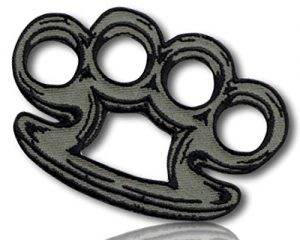 "Unique & Custom {3"" x 2″ Inch} 1 of [Glue-On, Iron-On & Sew-On] Embroidered Applique Patch Made of Natural Cotton w/Brass Knuckles Busters Self Defense Hand Combat Weapon {Gray, Black} + Certificate"