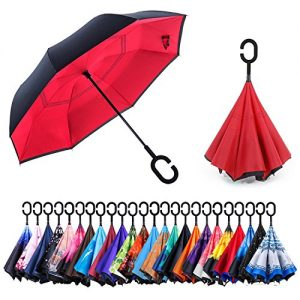 NewSight Reverse/Inverted Double-Layer Waterproof Straight Umbrella, Self-Standing & C-Shape Handle & Carrying Bag for Free Hands, Inside-Out Folding for Car Use (Apple Red)