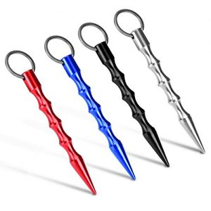 Flexzion Self Defense Keychain Solid Lightweight Aluminum Alloy 4 Pack Set – Tactical Survive Kubaton Keyring Weapon Pen Style with Pressure Tip For Women Ladies Girl and Children