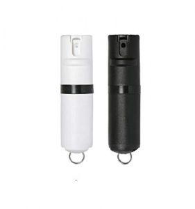 POM Two-Pack Black/Black & White/Black Pepper Spray Keychain Model – Maximum Strength Self Defense OC Spray Safety Flip Top 10ft Range Compact Discreet for Keys Backpacks Quick Key Release