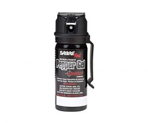 SABRE RED Pepper GEL – Police Strength with Flip Top for Safe – Fast Deployment – 20 Foot (6m) Range & 8 Full 1 Second Bursts – Ability to Deploy at Any Angle or Orientation PLUS Belt Clip