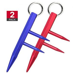 Kaiyuan Dynasty Self Defense Red & Blue Key Chain Weapons Tactiacl Tool Aluminum Safe Chain with Detachable Holder 2PC
